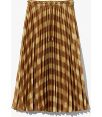 proenza schouler white label diffused gingham georgette pleated skirt ftigue/gldn grn diff ging/yellow l