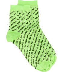 balenciaga all-over logo knitted socks - green