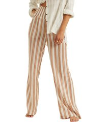 women's billabong new waves 2 stripe wide leg pants, size medium - brown
