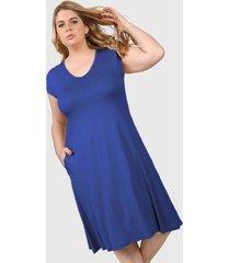 vestido azul minari bolsillos plus size