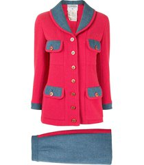 chanel pre-owned woven denim skirt suit - red