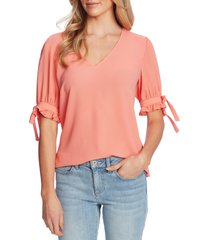 women's cece v-neck ruffle sleeve blouse, size xx-small - coral