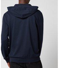 emporio armani men's iconic terry hooded sweatshirt - blue - xxl