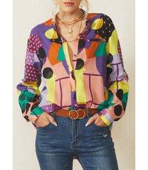 camicetta asimmetrica con colletto alla coreana manica lunga stampata geometrica per donna