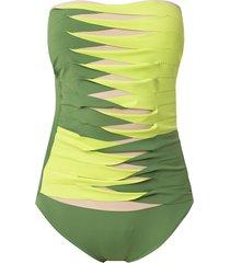 amir slama sleeveless printed swimsuit - green