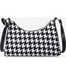 houndstooth pattern colorblock shoulder bag