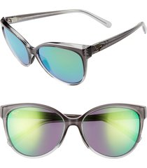 women's maui jim 'olu 'olu 57mm polarizedplus2 cat eye sunglasses - grey fade/ maui green