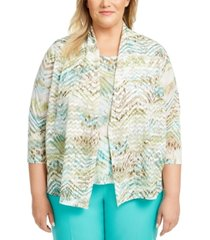 alfred dunner plus size cottage charm layered-look top
