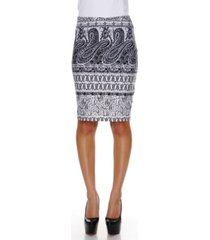 white mark graystone columns paisley print 'victoria' pencil skirt