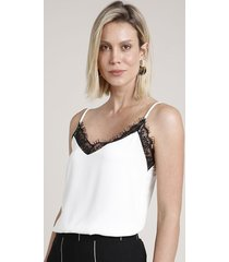 regata slip top feminina com renda alça fina decote v off white