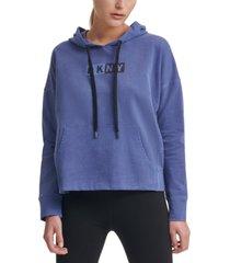 dkny sport logo hooded cotton sweatshirt