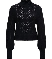 red valentino black openwork sweater in mohair blend