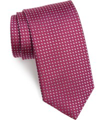men's david donahue geometric dot silk tie, size regular - pink