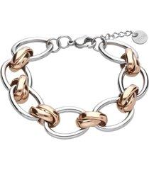 bracciale in acciaio con ganci intrecciati rosa per donna