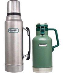 garrafa térmica 1l stanley + garrafa growler térmico 1,9l com tampa hammertone