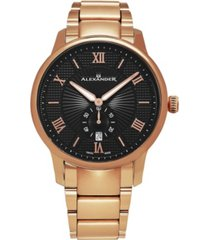 alexander watch a102b-05, stainless steel rose gold tone case on stainless steel rose gold tone bracelet