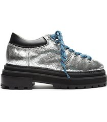 lucille metallic leather & shearling bootie - 11 silver metallic leather