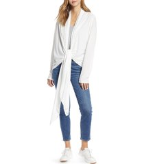 women's loveappella drape tie front cardigan, size x-small - ivory