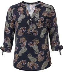 dayz rinske geprinte blouse met 3/4 mouw en strik manchet zwart