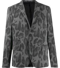 stella mccartney leopard print poplin blazer - grey