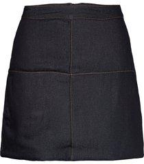 raw padded denim kort kjol blå ganni