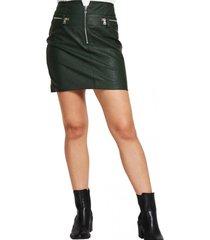 mini falda ecocuero cierres verde nicopoly