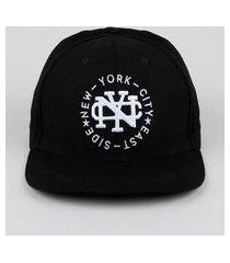 """boné masculino new york"""" com bordado aba reta preto"""""""