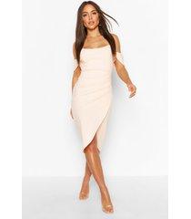 off the shoulder corset wrap midi dress, peach