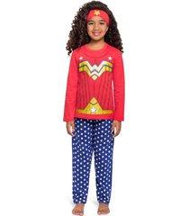 pijama fantasia veggi maravilha longo - azul marinho/vermelho - menina - algodã£o - dafiti