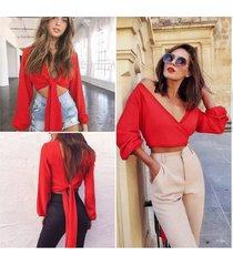 anself blusas mujer de moda 2019 moda mujer tie-back blusa cuello en v-rojo