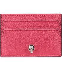 alexander mcqueen women's leather skull card holder - orchid pink