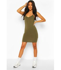 basic strappy cami bodycon dress, khaki