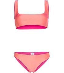 ack vela amarena square neck bikini - pink