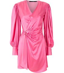 eva wrapped ruched dress - pink