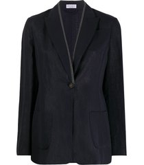 brunello cucinelli bead-trimmed single-breasted blazer - blue