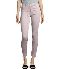 mid-rise cropped satin jeans