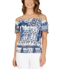 bcx juniors' off-the-shoulder smocked bottom top