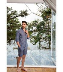 pijama masculino l'acqua linho curto p  muguet home azul - azul - masculino - linho - dafiti