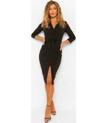 midi blazer jurk met voorsplit en ceintuur, zwart