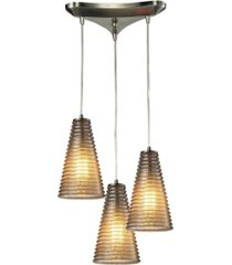 ribbed glass collection 3 light pendant in satin nickel