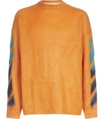 off-white mohair crewneck sweater