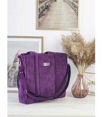 sztruksowa torba shopper fiolet