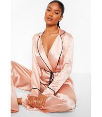 premium wikkel pyjama set met broek, strik en kwastjes, rose gold