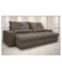 sofá vogue 2,80m retrátil e reclinável velosuede marrom - netsofas