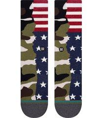 men's stance frontline 2 crew socks, size large - green