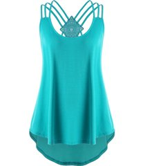 plus size criss cross curved tank top