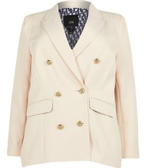 river island womens plus cream fitted double breasted blazer