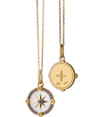 white enamel and sapphire mini compass charm necklace
