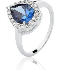 anel prata rara princesa gota azul