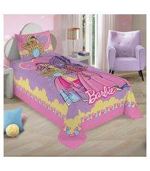 jogo de cama solteiro lepper barbie reinos mágicos 2 peças rosa